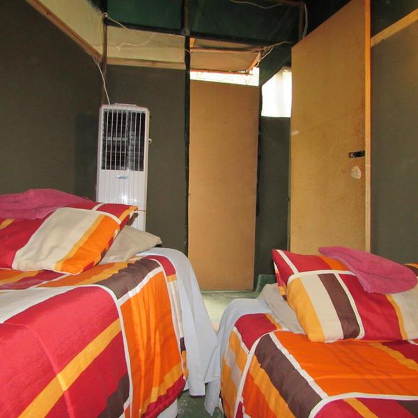 Familie bushtent met 4 bedden en open douche. Pas op voor Tarzan. #3