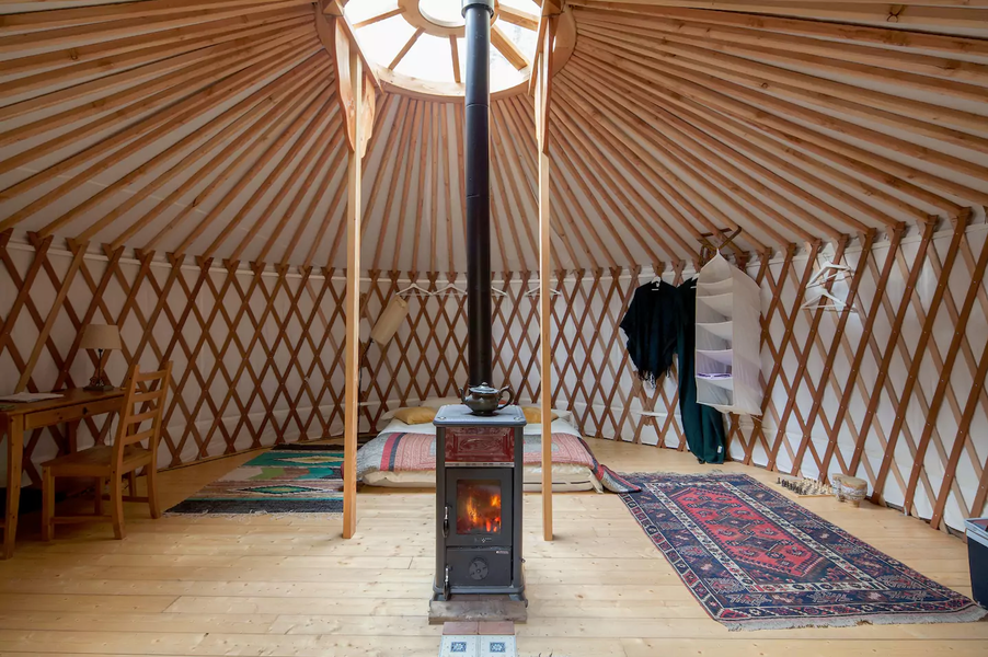 Camp in a yurt in the Apennine forest wilderness #1