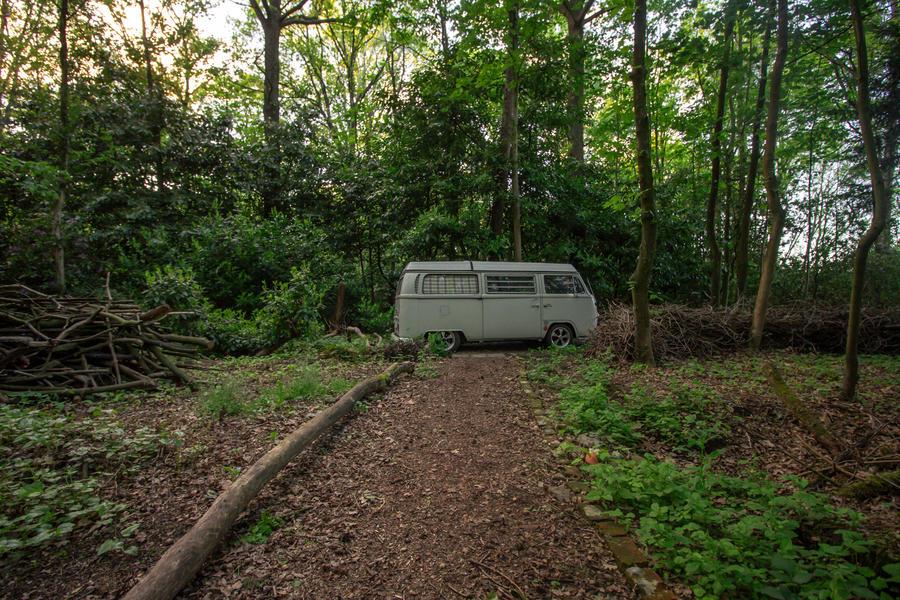 Een klein huisje met kampeerplek in het midden van het bos. #4