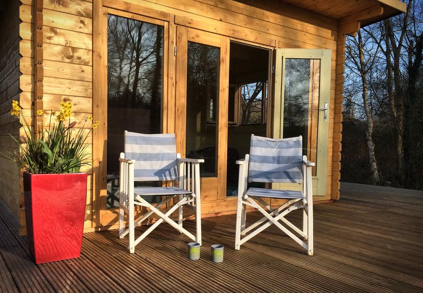 Stay in our Glamping wooden Lodges, all set up, so just move in. #1