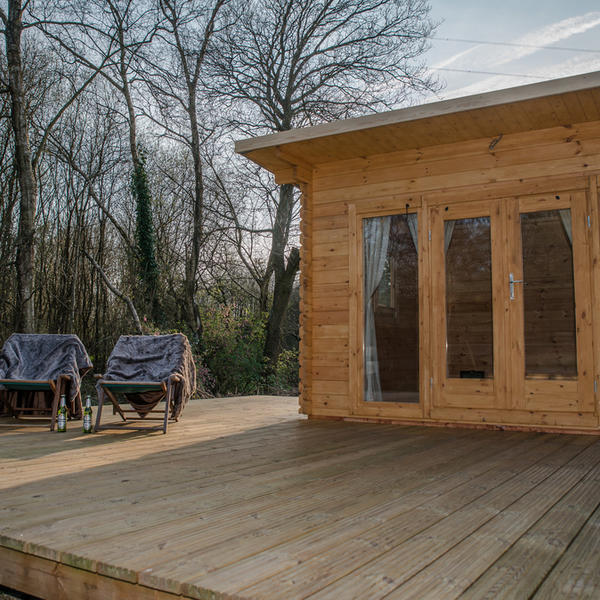Stay in our Glamping wooden Lodges, all set up, so just move in. #5