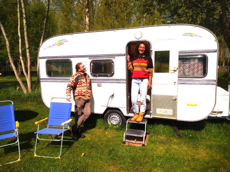 Knaus retro caravan in a natural garden #1