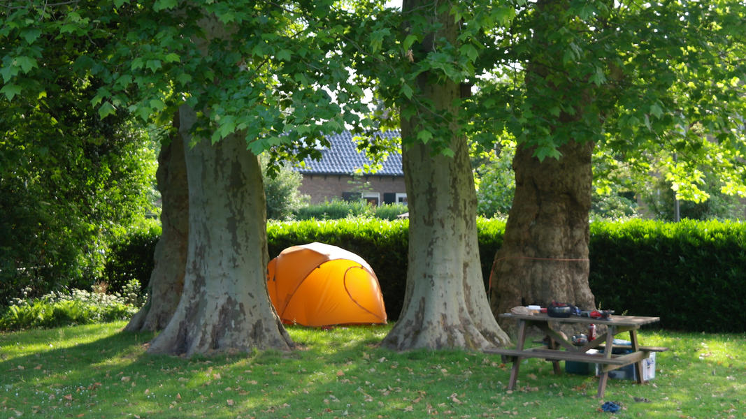 Camping under the plane trees at the foot of the Posbank #2