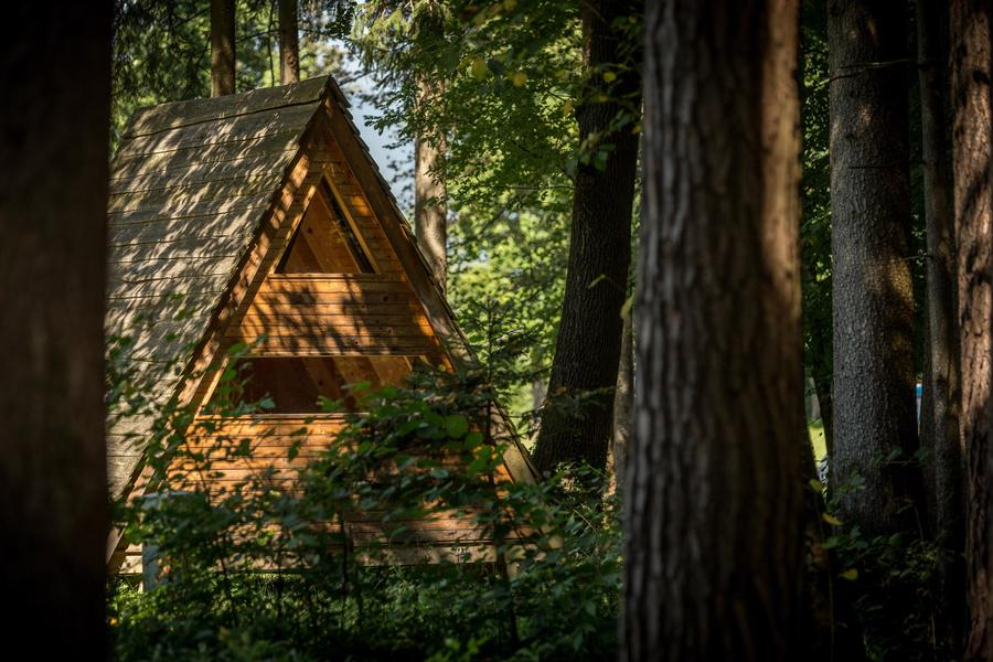 Sleeping in a hut 'Forest bed' at the river Savinja #13
