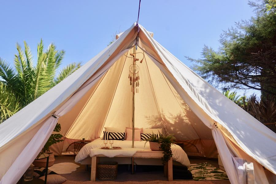 PRIVATE LUXURY BELL TENT SET IN TROPICAL GARDEN #2