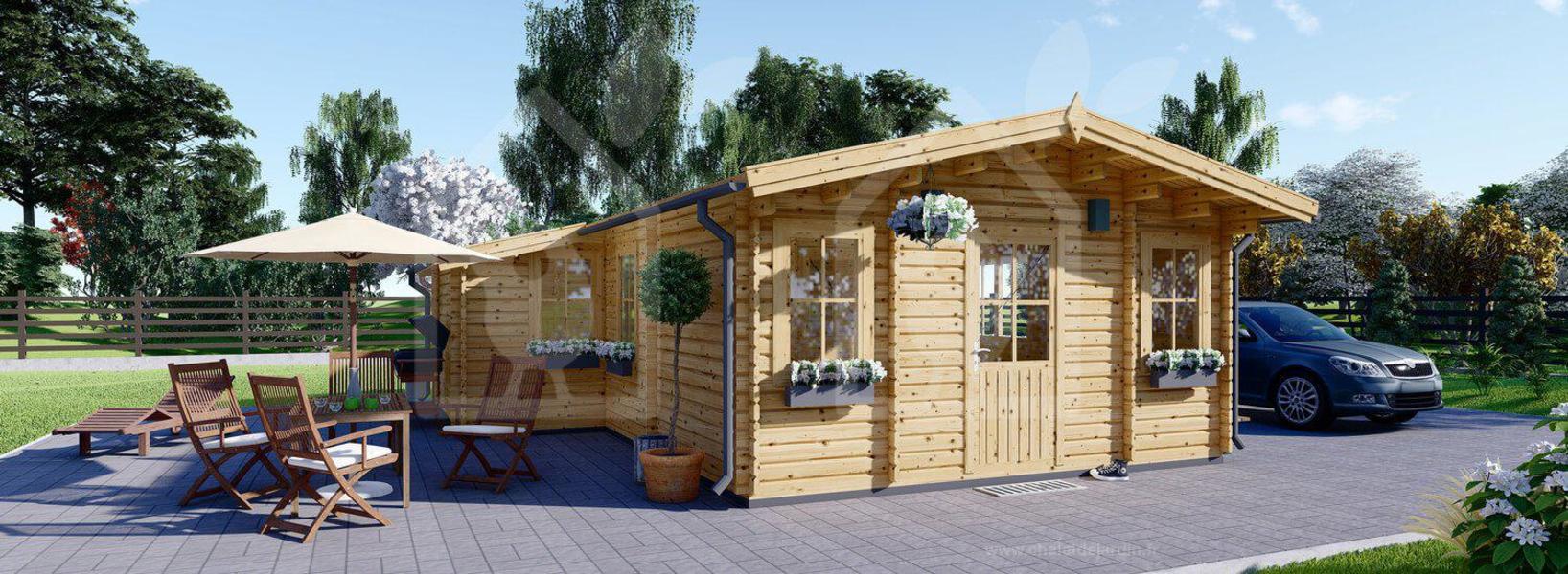 Luxury log cabin with sanitary facilities